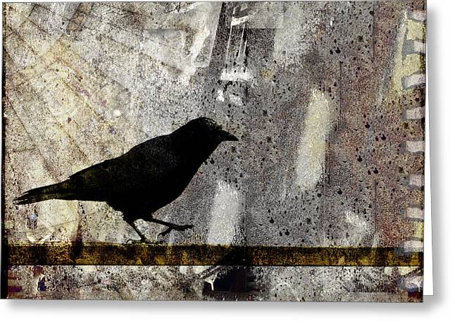 Crow Collage Greeting Cards - Learning to Navigate Greeting Card by Carol Leigh