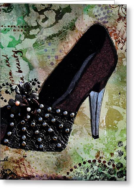 Shoes Greeting Cards - Leather and Lace Shoes with abstract background Greeting Card by Janelle Nichol