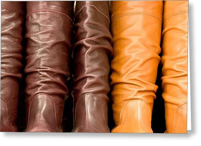 Bootleg Greeting Cards - Leather boots Greeting Card by Tom Gowanlock