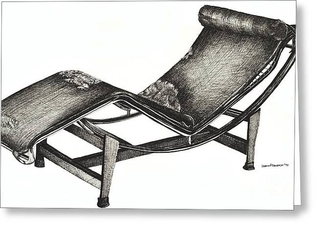Leather Chaise Longue Greeting Card by Lee-Ann Adendorff