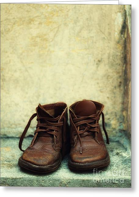 Deform Greeting Cards - Leather children boots Greeting Card by Jaroslaw Blaminsky