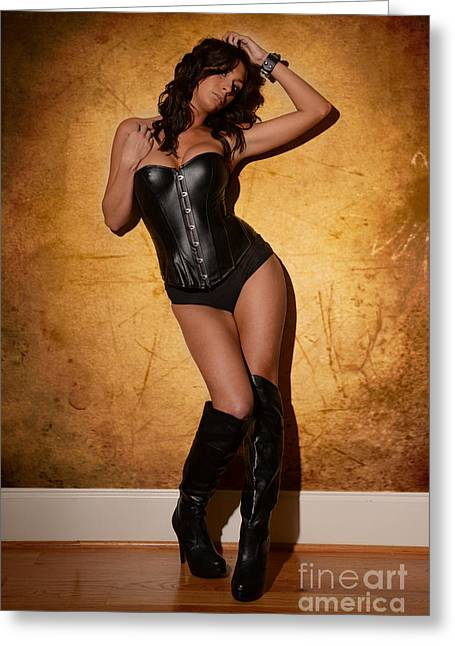 Boot Fetish Greeting Cards - Leather Corset Greeting Card by Jt PhotoDesign