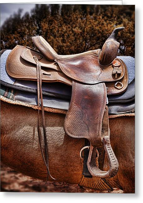 Worn Leather Photographs Greeting Cards - Leather Greeting Card by Kelley King