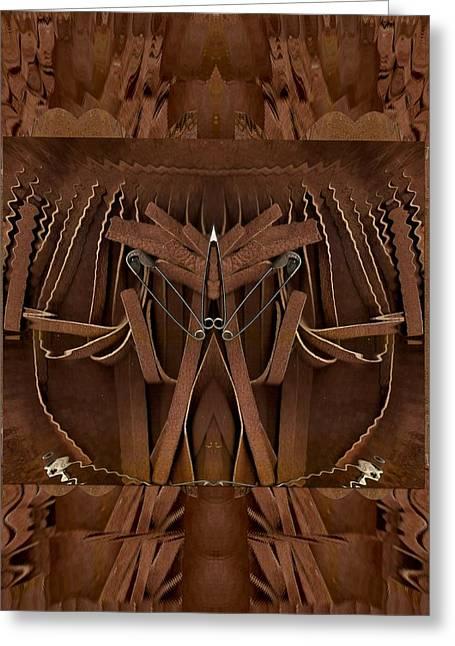 Sacred Body Greeting Cards - Leather man in a leather collage Greeting Card by Pepita Selles