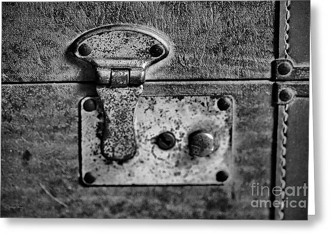 Hardware Greeting Cards - Leather N Brass BW Greeting Card by Cheryl Young