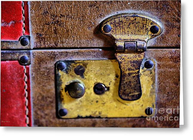 Hardware Greeting Cards - Leather N Brass Greeting Card by Cheryl Young