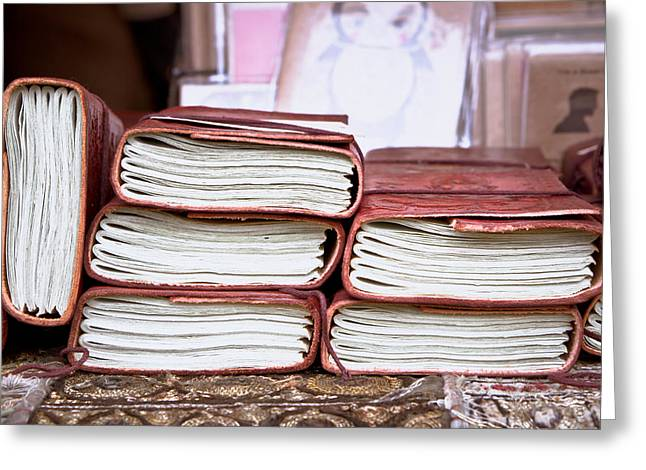 Notebook Greeting Cards - Leather notebooks Greeting Card by Tom Gowanlock