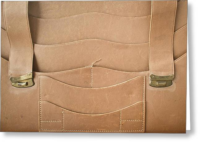 Straps Greeting Cards - Leather satchel Greeting Card by Tom Gowanlock