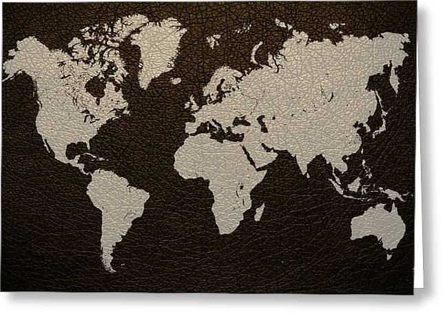Leather Greeting Cards - Leather Texture Map of the World Greeting Card by Design Turnpike