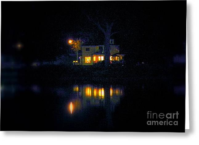 Night Lamp Greeting Cards - Leave the light on Greeting Card by Karen Cook