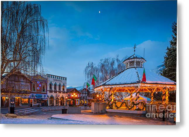 Leavenworth Greeting Cards - Leavenworth Christmas Moon Greeting Card by Inge Johnsson
