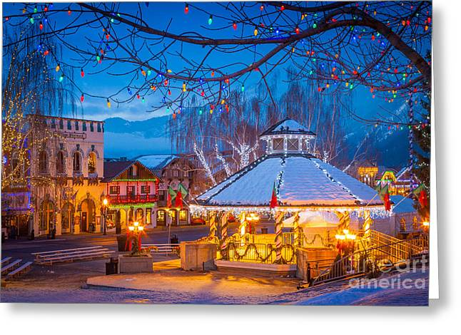 Leavenworth Greeting Cards - Leavenworth Gazebo Greeting Card by Inge Johnsson