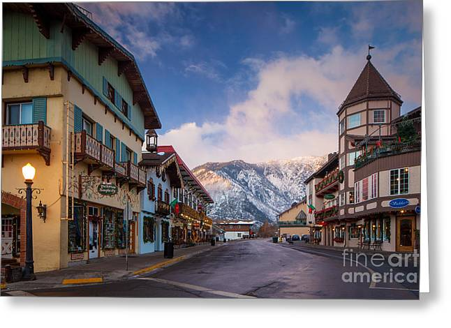 Leavenworth Greeting Cards - Leavenworth Winter Street Greeting Card by Inge Johnsson