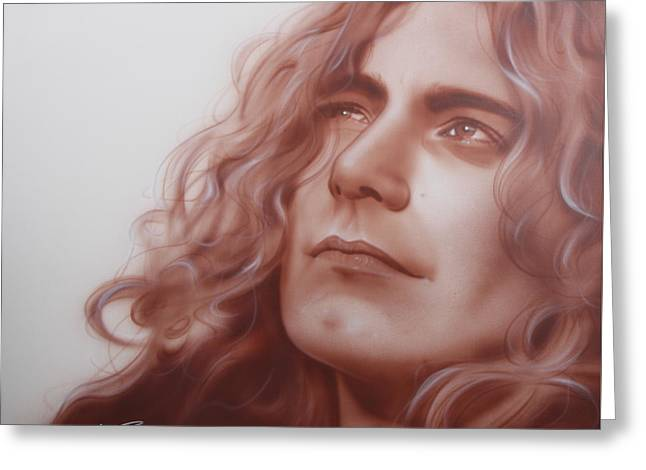 Robert Plant - ' Leaves Are Falling All Around ' Greeting Card by Christian Chapman Art