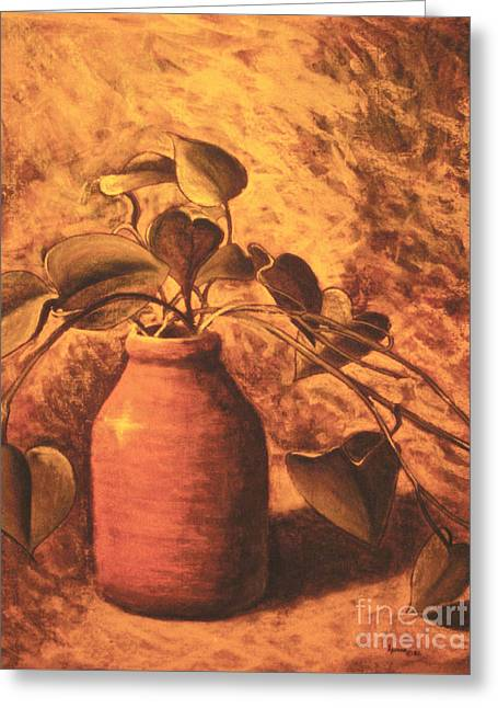 Roots Pastels Greeting Cards - Leaves in a Jar Greeting Card by Teresa Ascone
