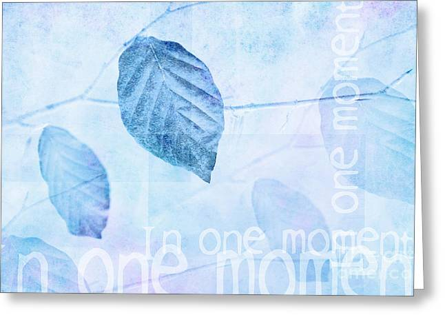 Portray Greeting Cards - Leaves in Pastel Blue Contemporary Art Print Greeting Card by Natalie Kinnear