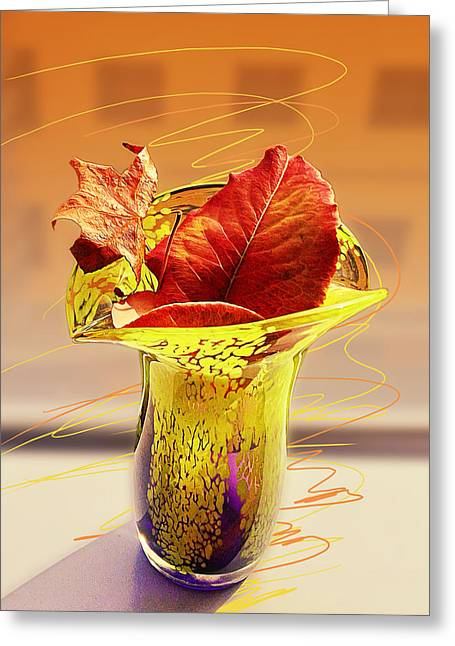 Leaves In The Vase Greeting Card by Ron Regalado