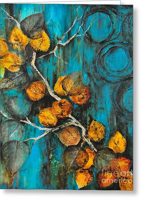 Turquois Greeting Cards - Leaves of Gold Greeting Card by Donna Martin