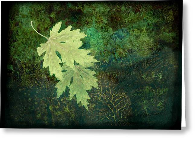 Fallen Leaf Greeting Cards - Leaves on Green Greeting Card by Ann Powell