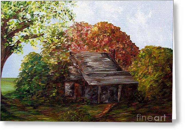 Autumn In The Country Mixed Media Greeting Cards - Leaves on the Cabin Roof Greeting Card by Eloise Schneider