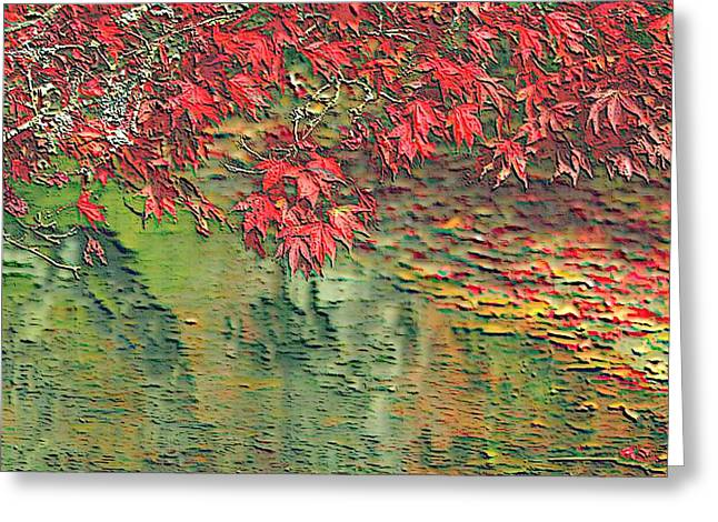White River Scene Mixed Media Greeting Cards - Leaves On The Creek 3 Greeting Card by L Brown