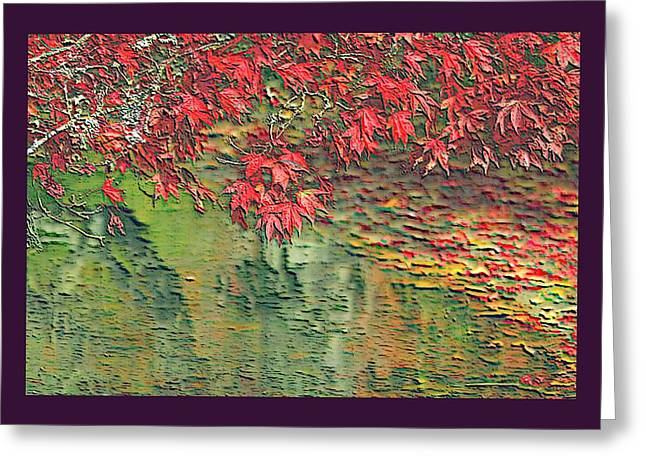 Leaves On The Creek 3 with small border 3 Greeting Card by L Brown