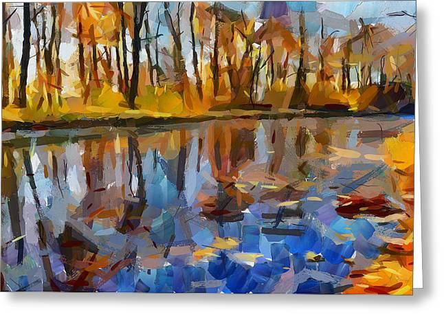 Favorite Color Blue Greeting Cards - Leaves on the river Greeting Card by Yury Malkov