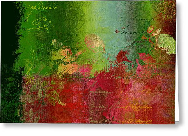 Green Abstract Greeting Cards - Leaves Rhapsody - 052209043 Greeting Card by Variance Collections