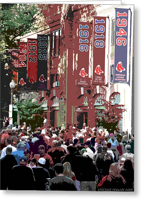Red Sox Art Greeting Cards - Leaving Fenway Park Greeting Card by David Leiman