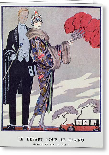 Leaving For The Casino Greeting Card by Georges Barbier