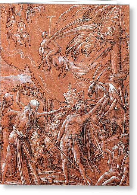 Goat Drawings Greeting Cards - Leaving for the Sabbath Greeting Card by Albrecht Altdorfer