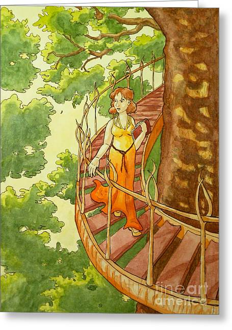 Spiral Staircase Paintings Greeting Cards - Leaving Her City Greeting Card by Whitney Morton