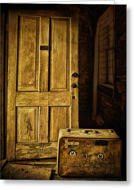 Sunlit Door Greeting Cards - Leaving Home Greeting Card by Priscilla Burgers