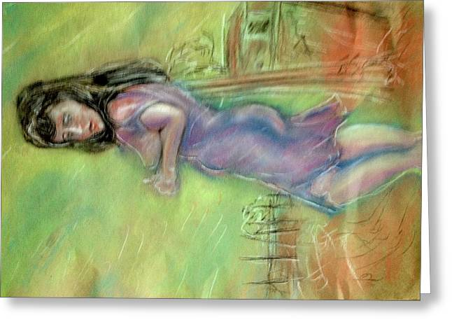Pinup Pastels Greeting Cards - Leaving it all behind Greeting Card by Reid Silvern