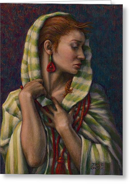 Young Lady Greeting Cards - Leaving Jericho Greeting Card by Jane Bucci