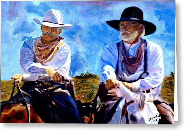 Doves Paintings Greeting Cards - Leaving Lonesome Dove Greeting Card by Peter Nowell