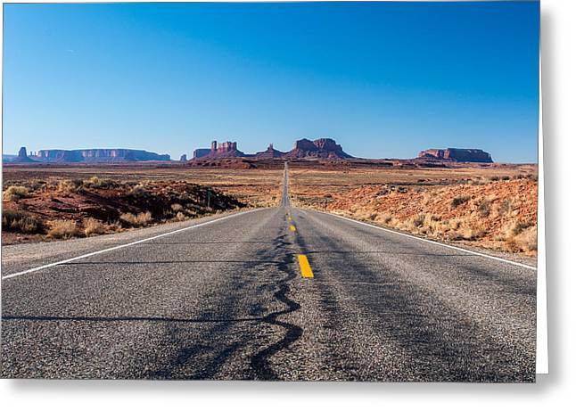 North American Indian Ethnicity Greeting Cards - Leaving Monument Valley Greeting Card by Josh Whalen