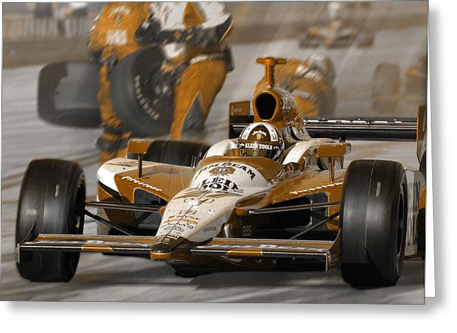Indy Car Greeting Cards - Leaving Pits Greeting Card by Kevin Cable