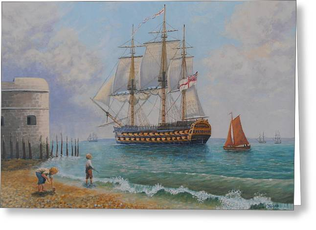 Blue Sailboats Greeting Cards - Leaving Portsmouth Harbour Greeting Card by Elaine Jones