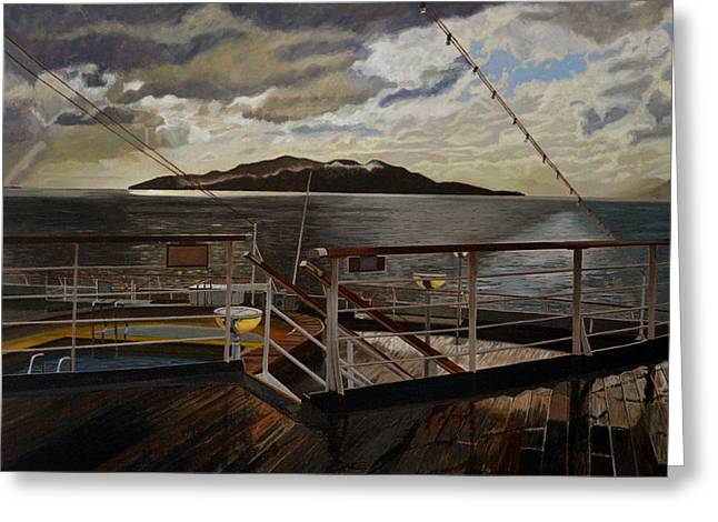 Charlotte Paintings Greeting Cards - Leaving Queen Charlotte Sound Greeting Card by Thu Nguyen