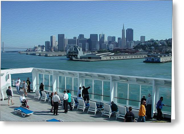 Famous Bridge Greeting Cards - Leaving San Francisco Greeting Card by John Bailey