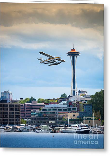 Space Needle Greeting Cards - Leaving Seattle Greeting Card by Inge Johnsson