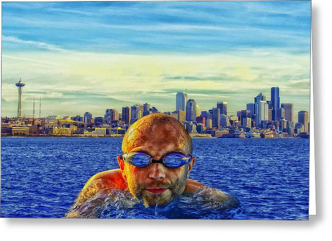 Swimmers Greeting Cards - Leaving Seattle Greeting Card by Mountain Dreams