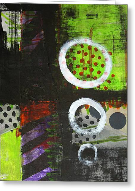 Repetition Paintings Greeting Cards - Leaving the Dark Abstract  Greeting Card by Nancy Merkle