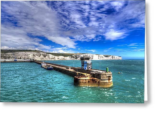 England Photographs Greeting Cards - Leaving the Port of Dover Greeting Card by Tim Stanley