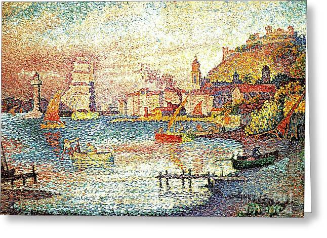 Leaving The Port Of Saint Tropez Greeting Card by Pg Reproductions