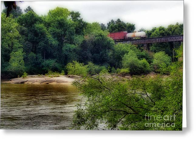 Train Rides Greeting Cards - Leaving Town On A Rail Greeting Card by Skip Willits