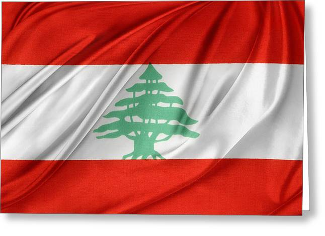 Abstract Waves Photographs Greeting Cards - Lebanese flag Greeting Card by Les Cunliffe
