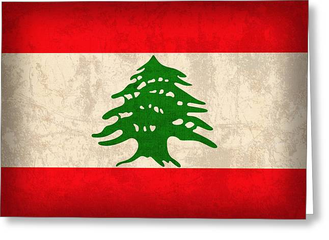 Lebanon Greeting Cards - Lebanon Flag Vintage Distressed Finish Greeting Card by Design Turnpike