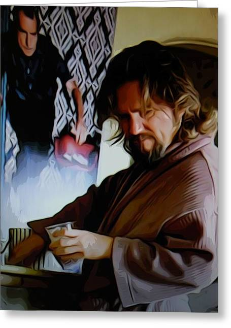 Big Lebowski Photographs Greeting Cards - Lebowski and white russian Greeting Card by Guido Prussia